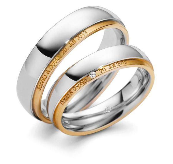 Trauringe Außen Gravur Gelbgold Weißgold Diamant besonderes Design