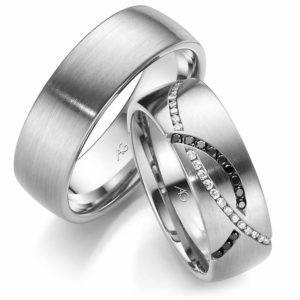 Trauringe exklusiv mehrfarbige Diamanten Design Platin Weißgold
