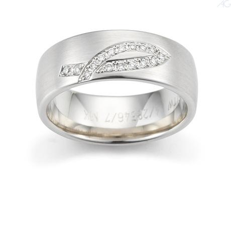 Trauringe Weißgold Platin mit Schleifen Design Brillanten Diamanten
