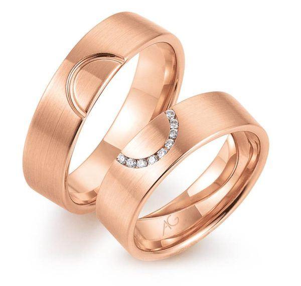 Trauringe Gerstner einheitliches Design in Rosègold mit Diamanten Brillanten
