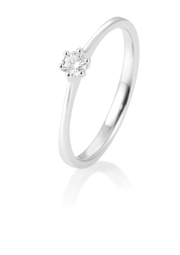 Breuning - Verlobungsring mit Diamant - 6er Krappenfassung - 0.10 Karat