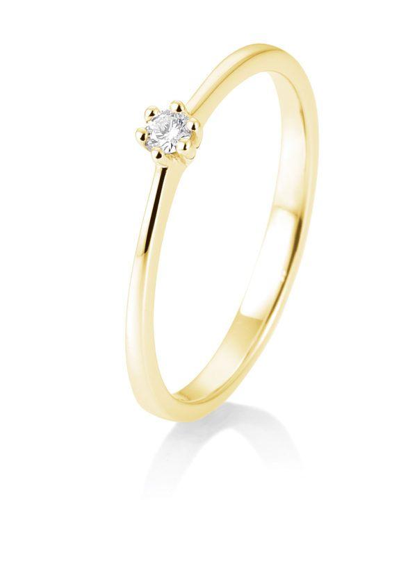 Breuning - Verlobungsring mit Diamant - 6er Krappenfassung - 0.05 Karat