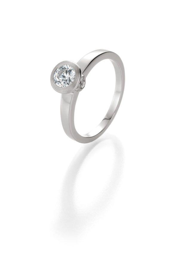 Verlobungsring mit Diamant - Zargenfassung mit seitlichem Steinbesatz - Breuning - 41/05402 - Weiß