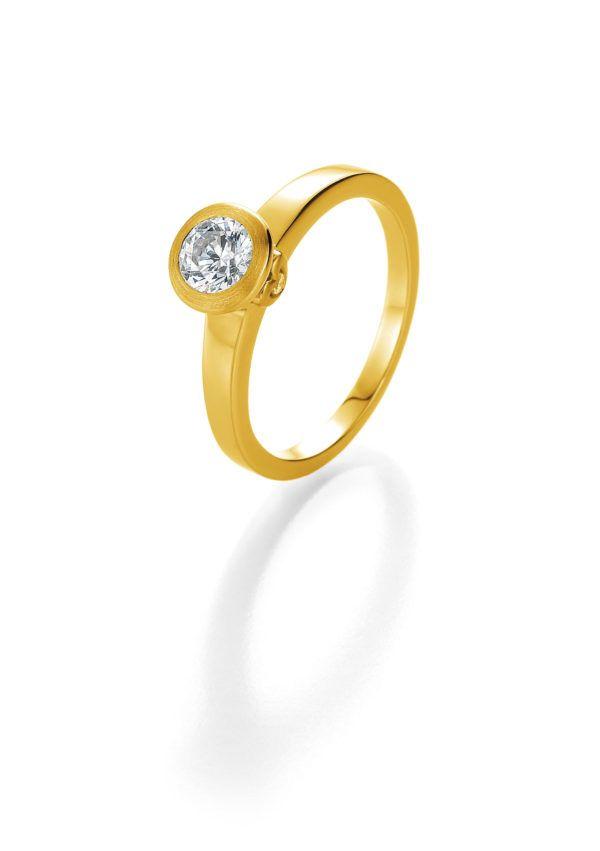 Verlobungsring mit Diamant - Zargenfassung mit seitlichem Steinbesatz - Breuning - 41/05402 - Gelb
