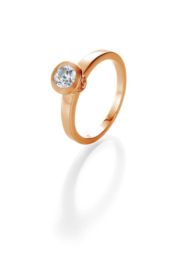 Verlobungsring mit Diamant - Zargenfassung mit seitlichem Steinbesatz - Breuning - 41/05402 - Rot