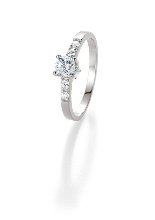 Verlobungsring mit Diamant - 4er-Krappenfassung mit seitlichem Steinbesatz - Breuning - 41/05405 - Weiß