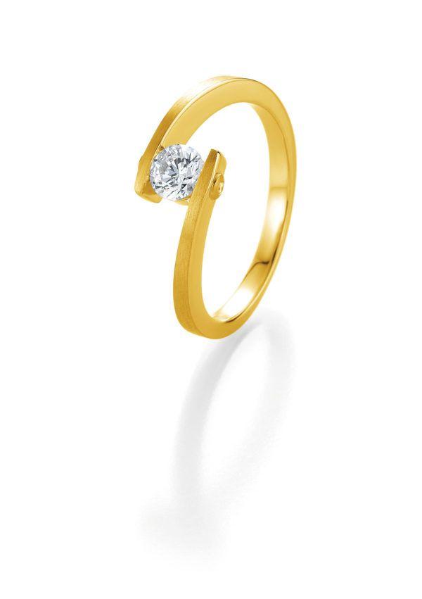 Verlobungsring mit Diamant - Geschwungene Spannfassung mit seitlichem Steinbesatz - Breuning - 41/05408 - Gelb