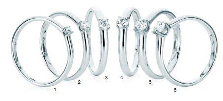 Verlobungsring mit Diamant - 4er-Krappenfassung - Schiene gleichbleibend-0
