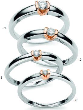 Verlobungsring mit Diamant - Bicolor - Weißgold und Rotgold-0
