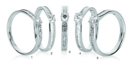 Verlobungsring mit Diamant - 4er-Krappenfassung mit seitlichem Steinbesatz - Baguette Schliff-0