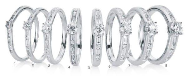 Verlobungsring mit Diamant - 4er-Krappenfassung mit seitlichem Steinbesatz - Brillant- und Baguetteschliff-0