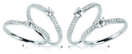 Verlobungsring mit Diamant - 4er-Krappenfassung mit seitlichem Steinbesatz - Modern-0
