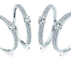 Verlobungsring mit Diamant - 4er-Krappenfassung mit seitlichem Steinbesatz - 2 Reihen-0