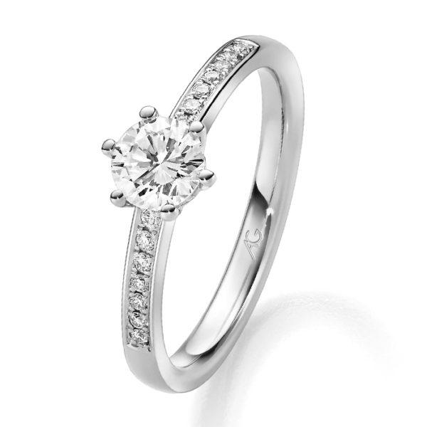 Verlobungsring mit Diamant - 6er-Krappenfassung - seitlicher Steinbesatz - Gerstner - 29745/2.2