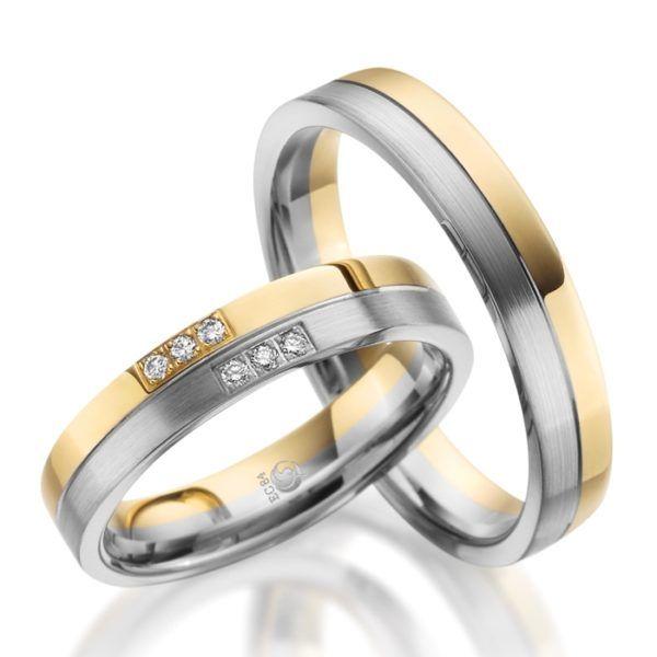 Eheringe - Design - mit Diamanten - RU-1085-1-0
