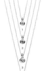 Collier 42cm mit Diamanten - Weißgold - Zargenfassung mit 3 Brillanten in der Schlaufe - Elegant-0
