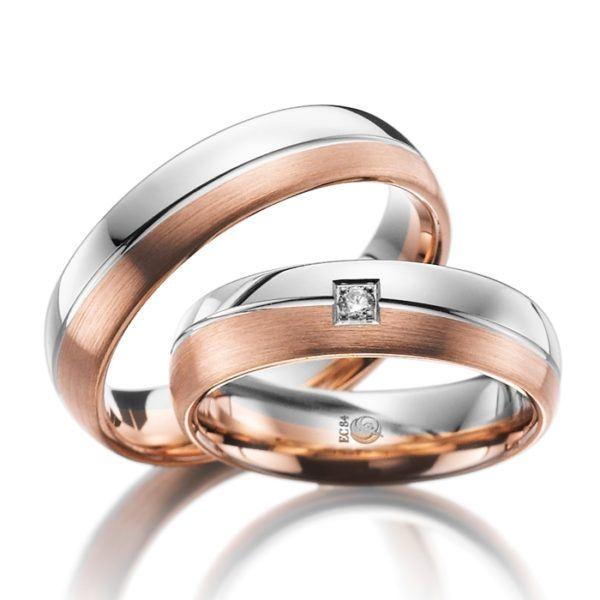 Eheringe - Design - mit Diamant - RU-1003-1-0