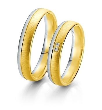 Breuning- Trauring- Rainbow DR 062290 / HR 062300 - Weißgold/Gelbgold