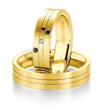 Breuning - B&W Black Diamonds - Trauringe - DR 064130 / HR 064140 - Gelbgold