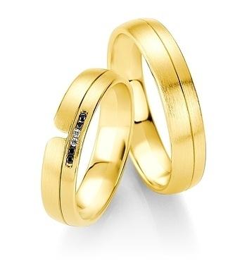Breuning - B&W Black Diamonds - Trauringe -DR 064030 / HR 064040 - Gelbgold