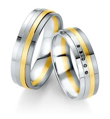 Breuning - B&W Black Diamonds- Trauringe -DR 064150 / HR 064160 - Weißgold/Gelbgold/Graugold