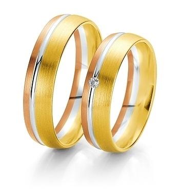 Breuning- Trauring- Rainbow DR062050/HR062060 - Gelbgold/Weißgold/Rotgold