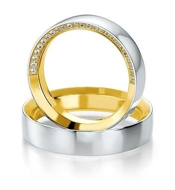 Breuning- Trauring- Design-DR 052210 / HR 052220 - Bicolor - Weißgold/Gelbgold