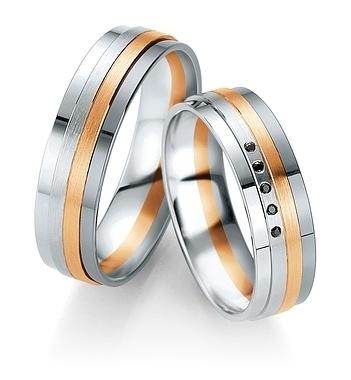 Breuning - B&W Black Diamonds- Trauringe -DR 064150 / HR 064160 - Weißgold/Rotgold/Graugold