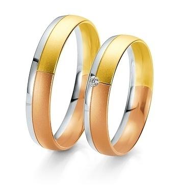 Breuning- Trauring- Rainbow DR 062010 / HR 062020 - Gelbgold/ Weißgold/ Rotgold