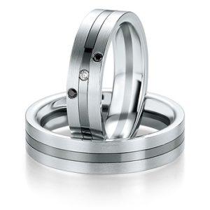 Breuning - B&W Black Diamonds - Trauringe - DR 064130 / HR 064140 - Weißgold