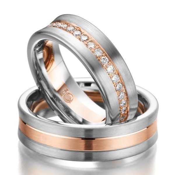 Eheringe - Design - mit Diamanten - RU-1009-1-0