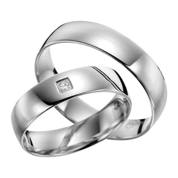 Eheringe - flaches Design - mit Diamant - R133-0
