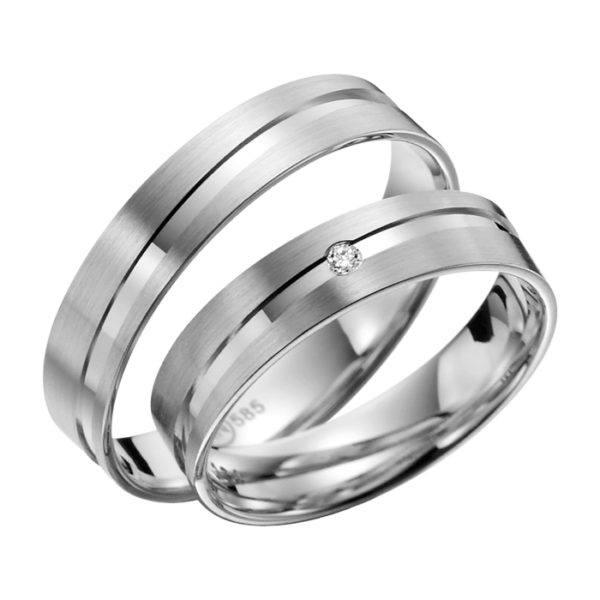 Eheringe - flaches Design - mit Diamant - R134-0