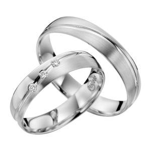 Eheringe - flaches Design - mit Diamanten - R135-0