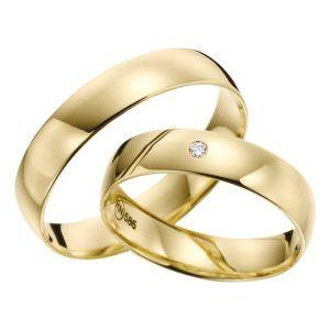 Eheringe - flaches Design - mit Diamant - R137-0