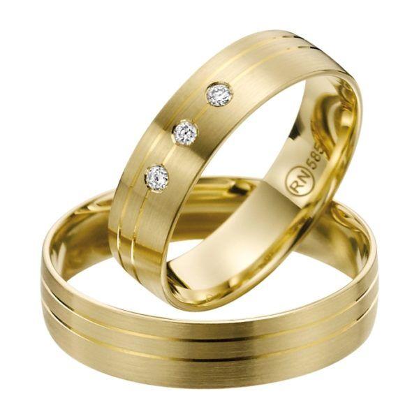 Eheringe - flaches Design - mit Diamanten - R139-0