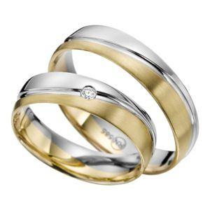 Eheringe - flaches Design - mit Diamant - R141-0