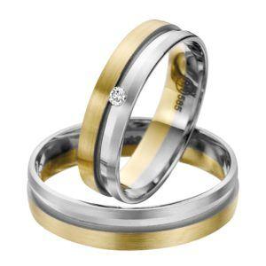 Eheringe - flaches Design - mit Diamant - R142-0