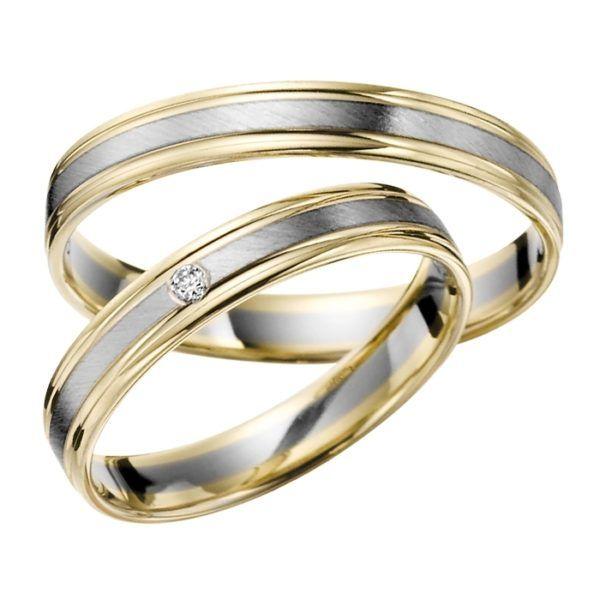 Eheringe - flaches Design - mit Diamant - R143-0