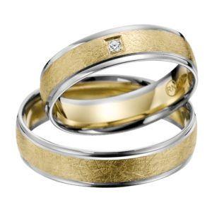 Eheringe - flaches Design - mit Diamant - R144-0