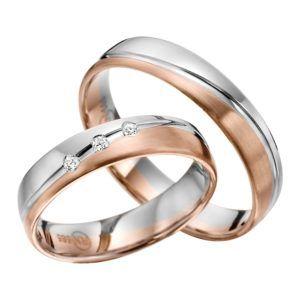 Eheringe - flaches Design - mit Diamanten - R145-0