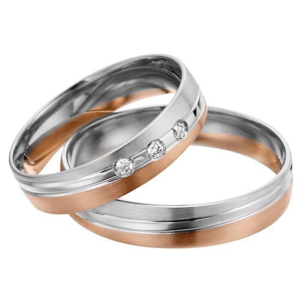 Eheringe - flaches Design - mit Diamanten - R146-0