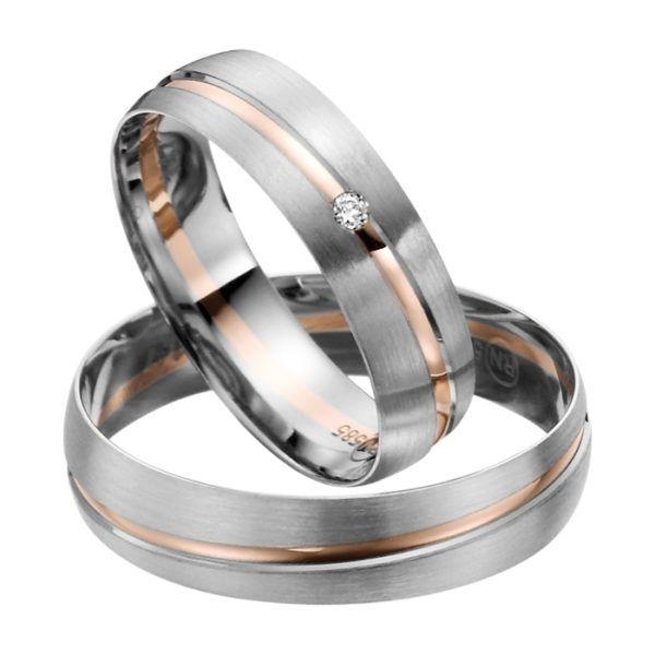 Eheringe - flaches Design - mit Diamant - R147-0
