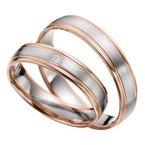 Eheringe - flaches Design - mit Diamant - R148-0