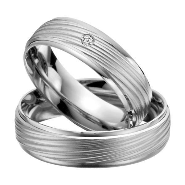 Eheringe - Palladium - mit Diamant - R501-0