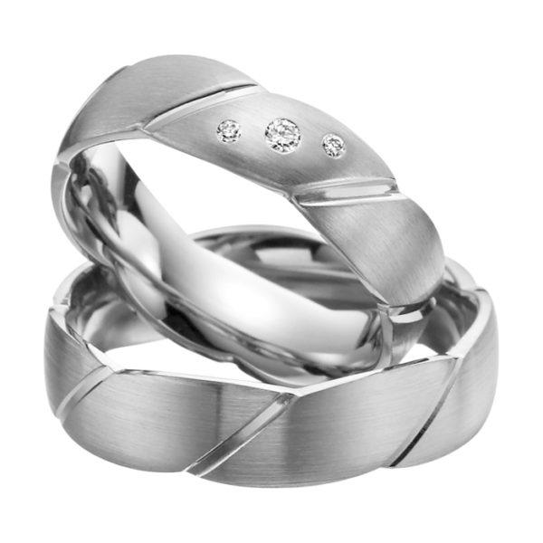 Eheringe - Palladium - mit Diamanten - R502-0