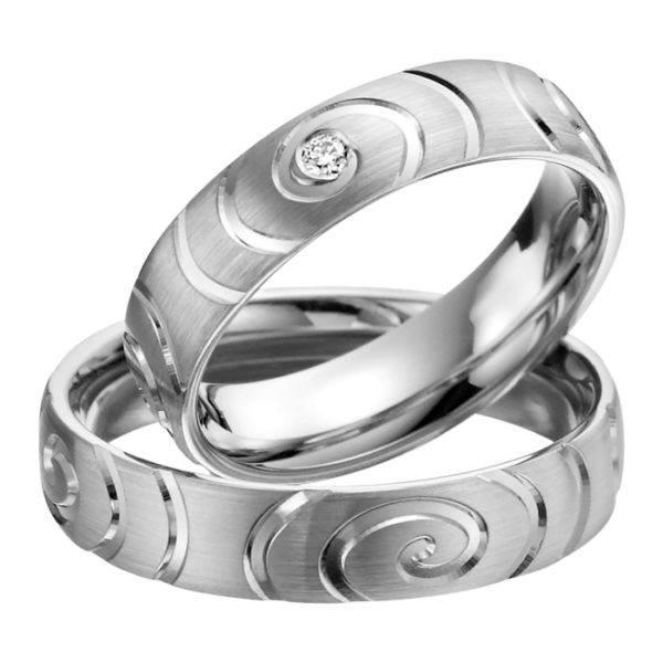 Eheringe - Palladium - mit Diamant - R504-0