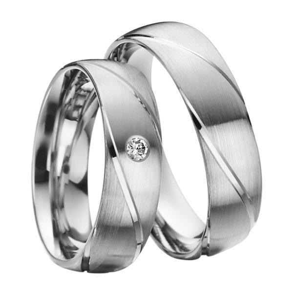 Eheringe - Palladium - mit Diamant - R505-0