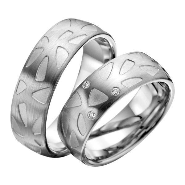 Eheringe - Palladium - mit Diamanten - R506-0