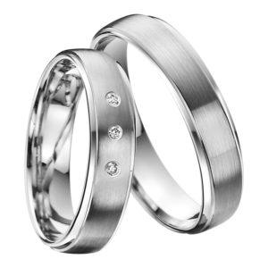 Eheringe - Palladium - mit Diamanten - R512-0